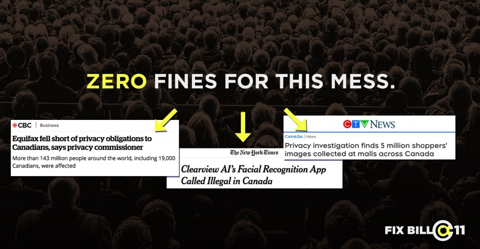 News headlines about companies that committed high profile privacy violations in the last few years that would face no fines under Bill C-11