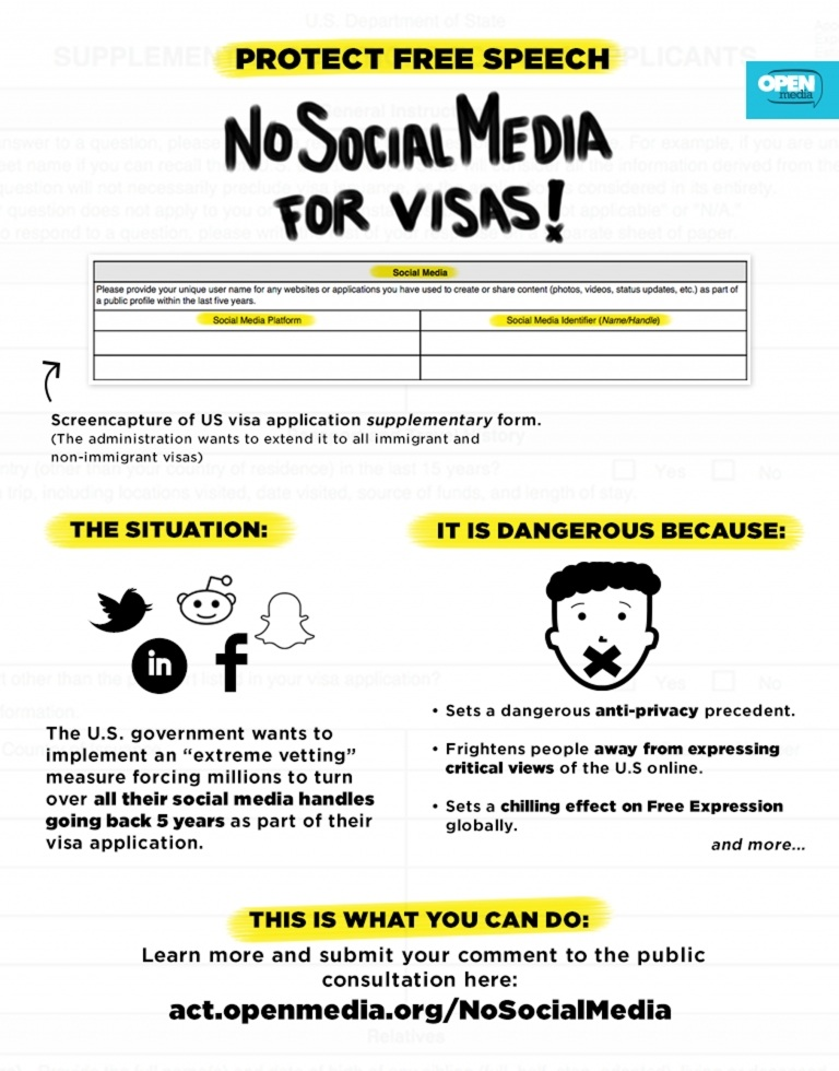 Image for Why asking for social media information for US visas is a danger to free expression world-wide