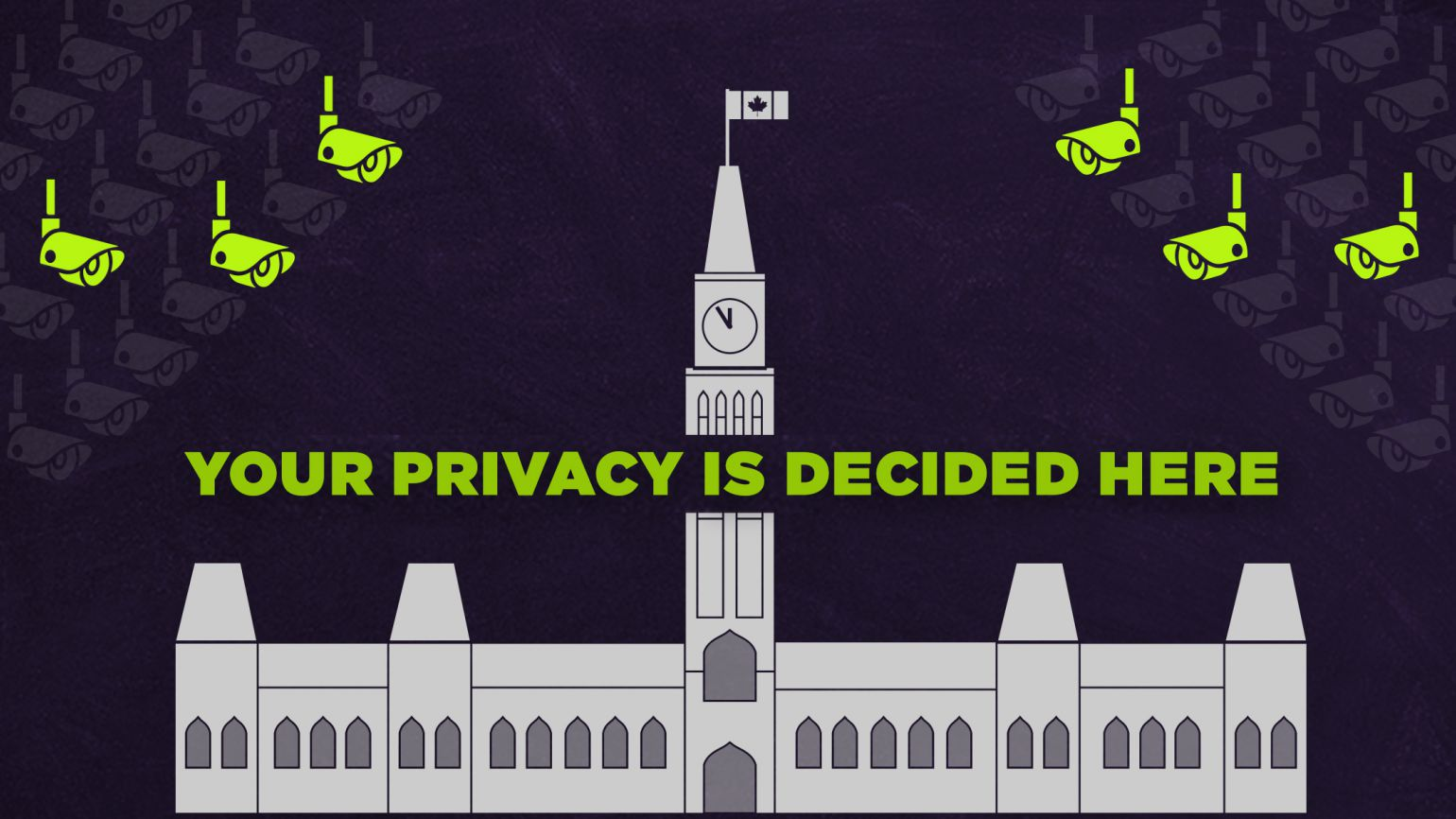 "Image of parliament surrounded by CCTV cameras with text that reads ""your privacy is decided here"""