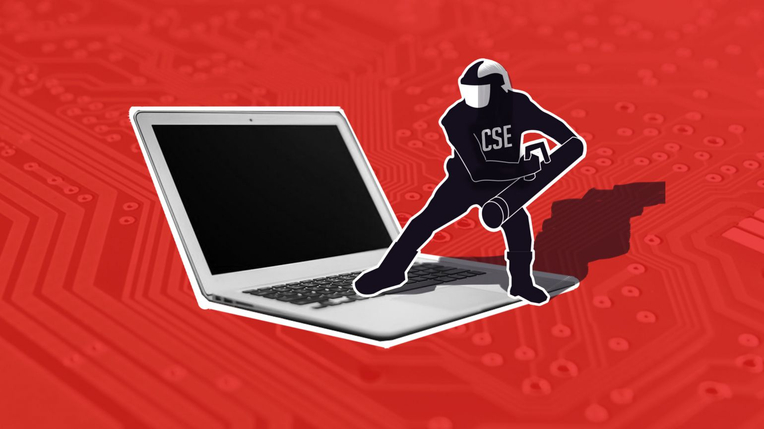 illustration of a CSE agent using a battering ram on a laptop