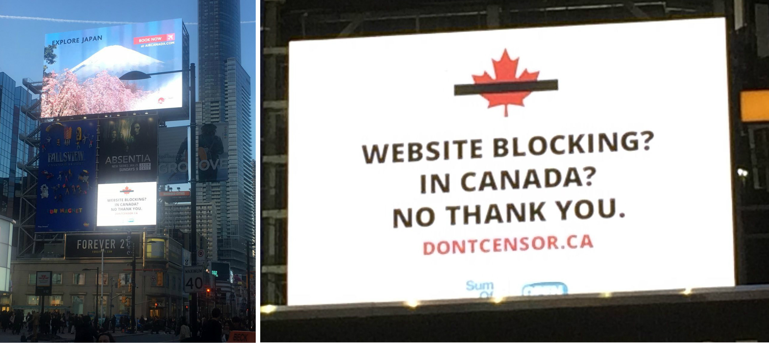 Photographs of giant website-blocking billboard in Yonge and Dundas Square in Toronto